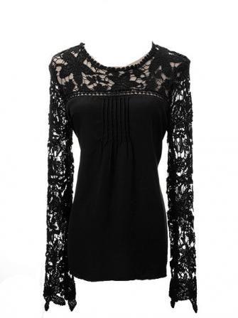 Hollow Lace Long Sleeve Front Chiffon Fold Women Blouse