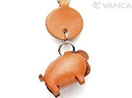 本革 携帯ストラップ プチ 動物 ぶた VANCA CRAFT (日本製 職人の手作り)