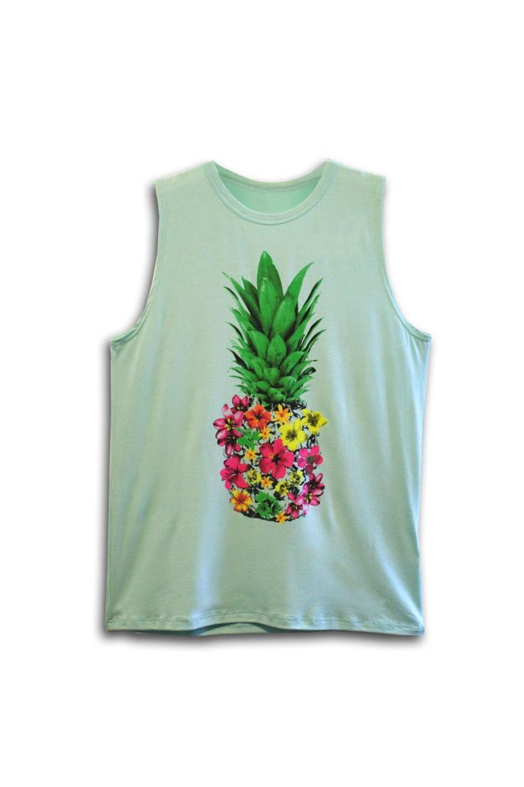 Fun floral pineapple print muscle tee is perfect for warm summer days! Fabric is super soft and drapey.  Floral Pineapple Tee by Color Bear. Clothing - Tops - Tees & Tanks New York