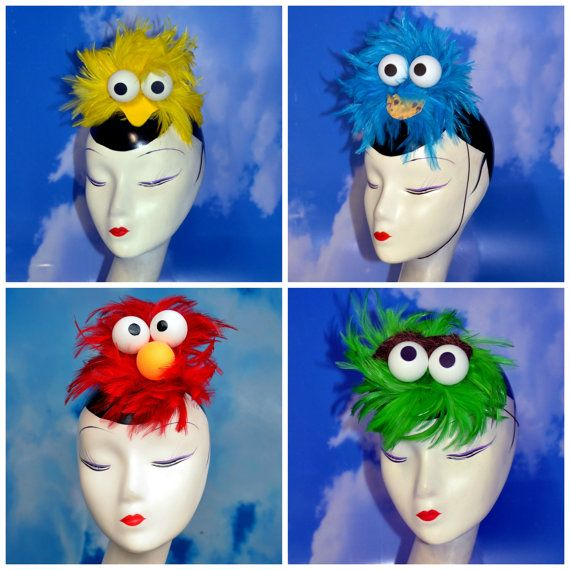You get TWO, THREE, or FOUR of the Sesame Street fascinators (Big Bird, Cookie Monster, Elmo, Oscar the Grouch) for a very special price! Mix and