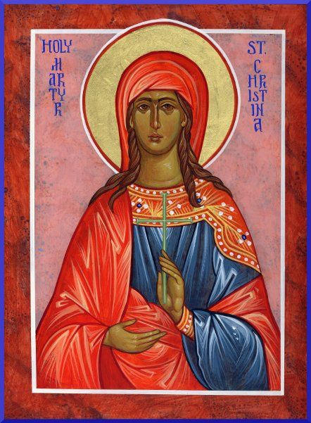 Saint Christina of Tyre born to a wealthy pagan family. Converted as a youth, she destroyed all the idols in her father's house; those of gold and silver she broke up and gave to the poor. Scourged, tortured, and martyred for her new faith.