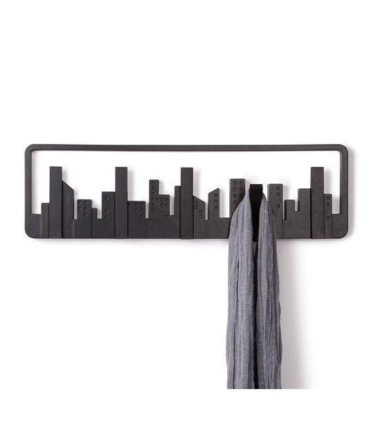 Portemanteaux Mural Design Noir 'Skyline' - UMBRA