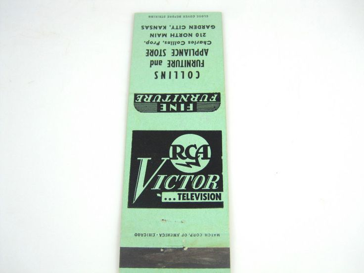 Vintage RCA VICTOR TELEVISION Matchbook Cover COLLINS FURNITURE AND APPLIANCE