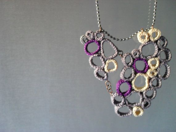 Crochet circle necklace   voronoy cells in violet lilac by Fnine, $32.00