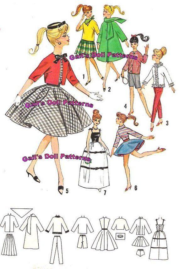 Barbie Wardrobe Pattern 2 for Barbie and by GailsDollEPatterns