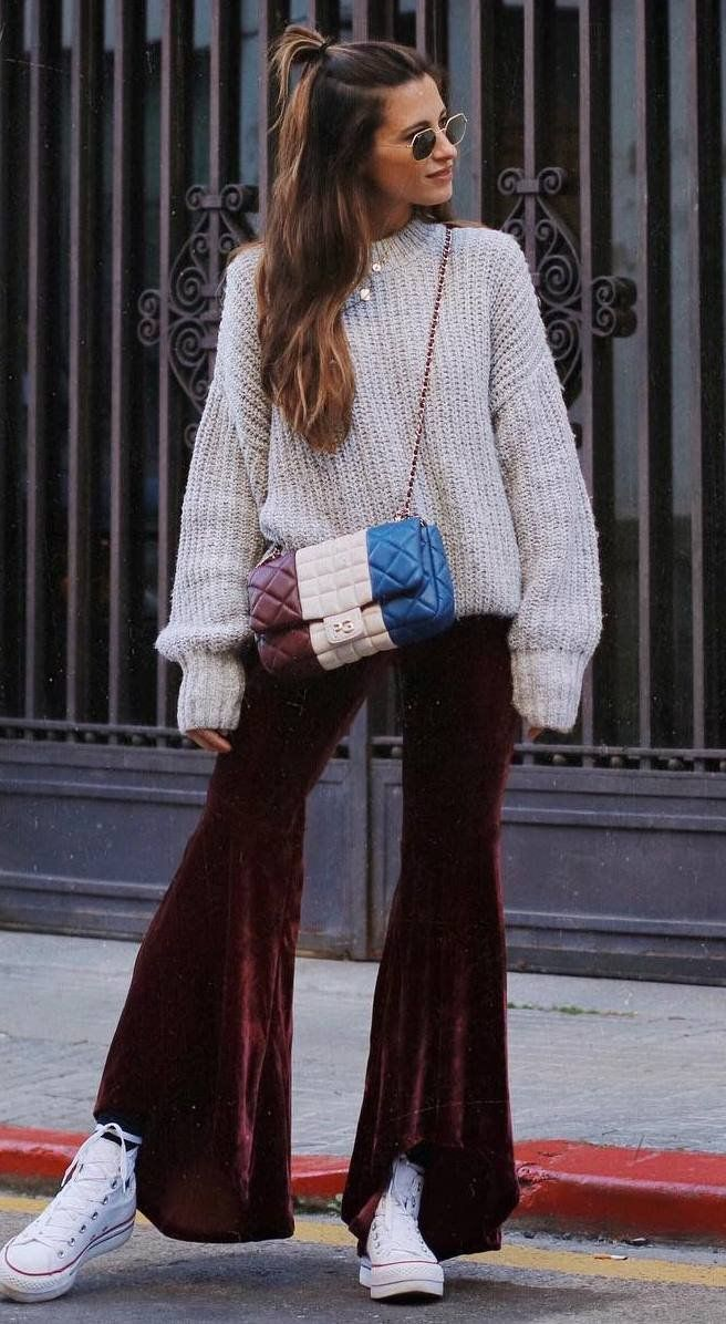 fashion trends | knir sweater + bag + velvet pants + converse