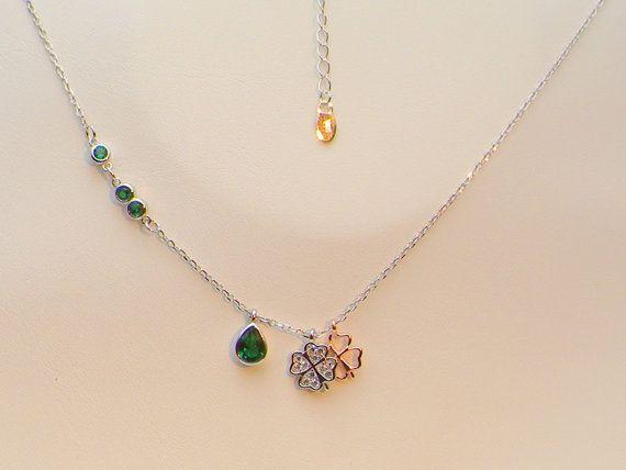Silver Emerald necklace/Pandora style Silver jewellery,925 layering necklaces/Swarovski style necklace,Larait pendant,,heart pendant gift