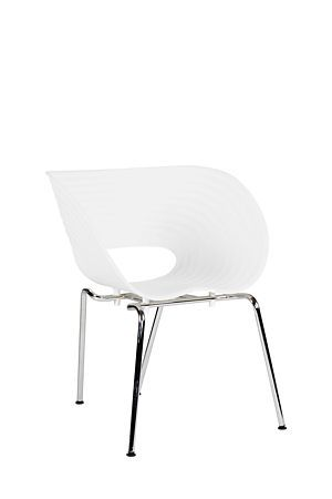 Moulded plastic chair with chrome plated metal legs are lightweight, modern and great for an urban style dining setting.