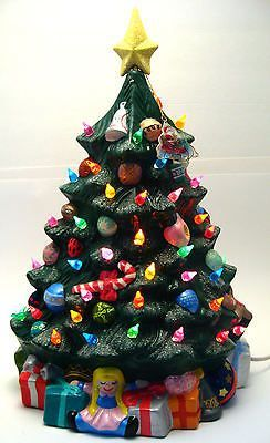 ceramic christmas tree with lights vintage ceramichrome presents toys underneath - Ceramic Christmas Trees With Lights
