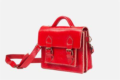 Red leather Suitcase bag , moroccan leather bag, red shoulder bag, crossbody…
