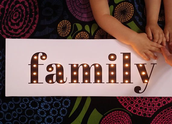 Family sign Marquee lighted sign Bedroom wall decor Black