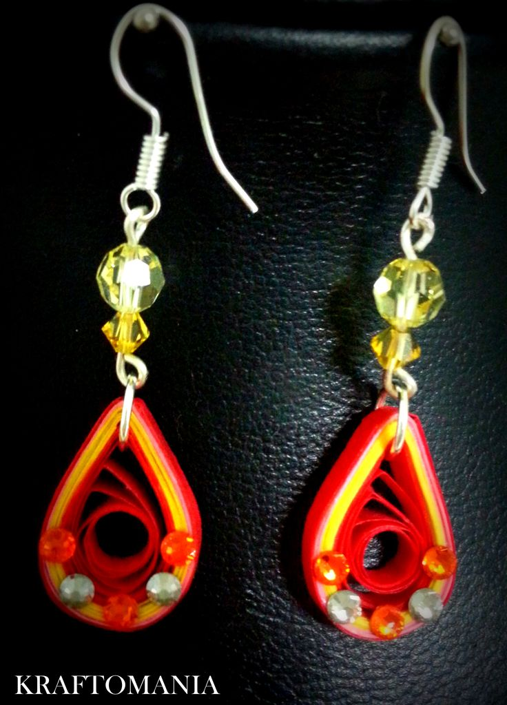 Handmade waterproof quilled earrings material : acid free paper with swarovski flat base and crystals KM Q51