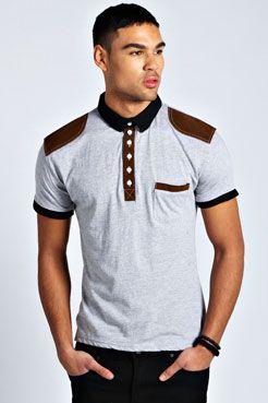 Suede Trim Polo Shirt at boohoo.com