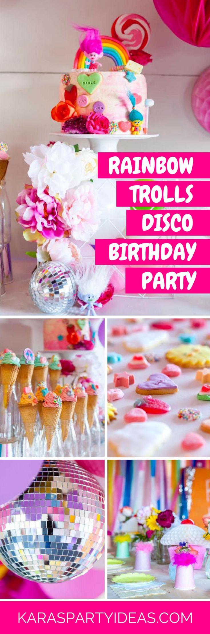 From kara s party ideas rustic dessert table display designed by - Rainbow Trolls Disco Birthday Party Via Kara S Party Ideas Karaspartyideas Com