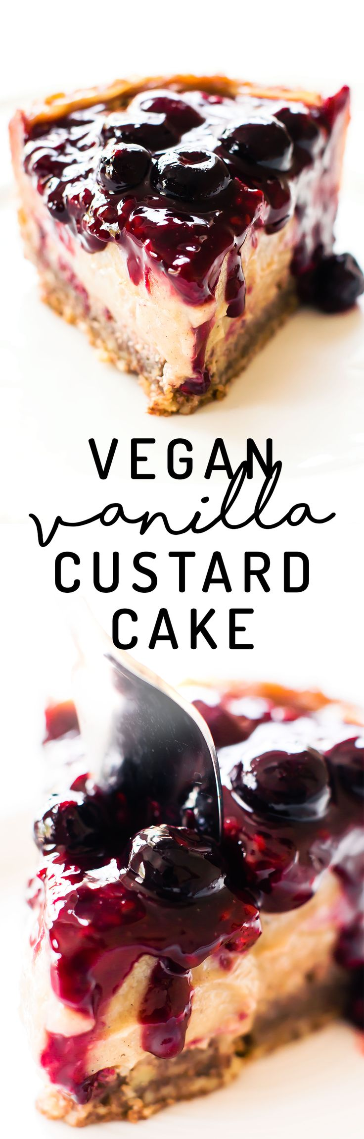 Dreamy meets healthy in this Vegan Vanilla Custard Cake with 2-ingredient pecan crust, low-fat vanilla bean filling, and easy berry compote to top!