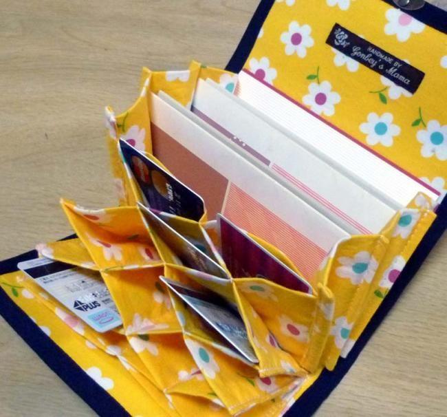 蜂の巣カードケース付通帳ケースの型紙説明書 - 小物とバッグ ハンドメイド型紙の店 ゴンベイハンドメイドショップ