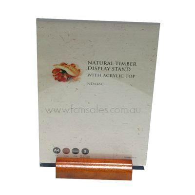 A4 Natural Timber Display Stand with Acrylic Top