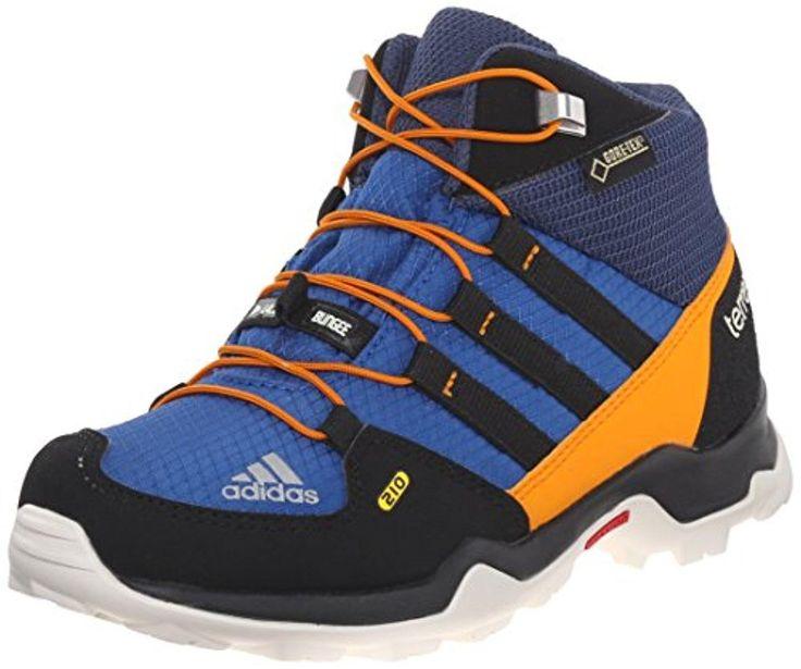 adidas Outdoor Terrex Mid Gore-Tex Hiking Boot (Little Kid/Big Kid), Equipment Blue/Black/Equipment Orange, 3.5 M US Big Kid - Brought to you by Avarsha.com