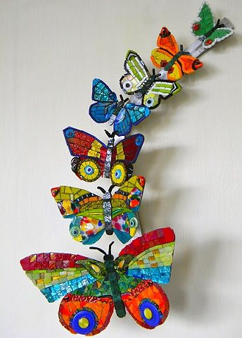''Happiness'' Butterflies Mosaic Floating Art, by Banu Cevikel from Turkey, Smalti, Iridized Mexican Smalti, Azure White Gold, Beads