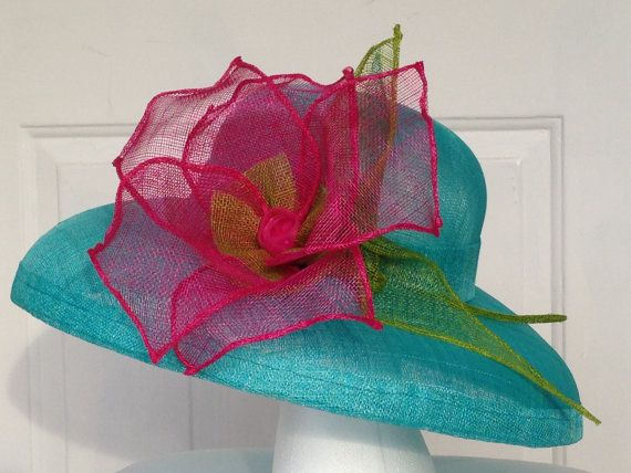 Turquoise Sinamay Hat with large Fuschia Flower by AmyJoOH on Etsy