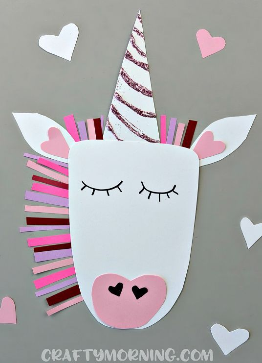 Unicorn's are all the craze this year so why not make a Valentine's Day unicorn?! You could make a small one to put on a card too. Supplies Needed: Purple, pink, light pink, red, hot pink, white, black card stock paper Black sharpie Scissors Glue Glitter Start by cutting out the unicorn's face, two ears, …