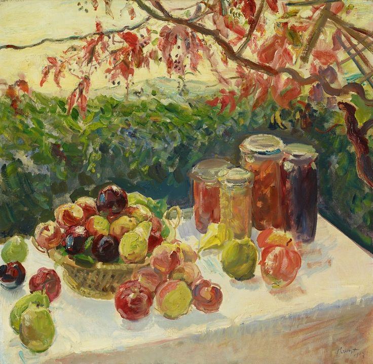 """'Autumn still life with fruit, grape arbor', 1917 - Max Slevogt (1868–1932) """