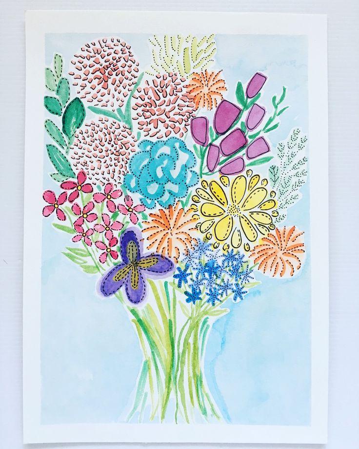Love in Flowers - original watercolour and ink art by Kim Miatke