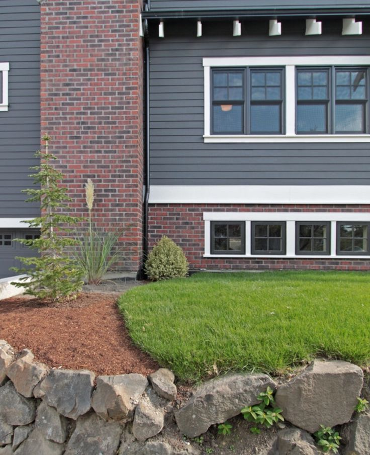 Gray Siding With Brick Curb Appeal Pinterest