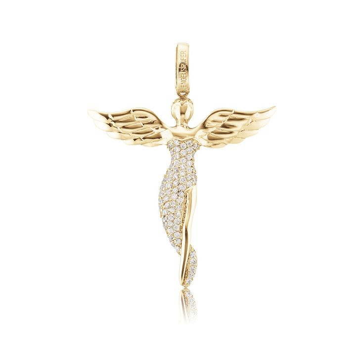 Gold angel pendant, $148.00. Click to open. Safe website and  Worldwide delivery. Pendant trimmed with white cubic zirconia in high-quality handcraft, made of gold plated 925 sterling silver. Size without bail: approx. 50mm