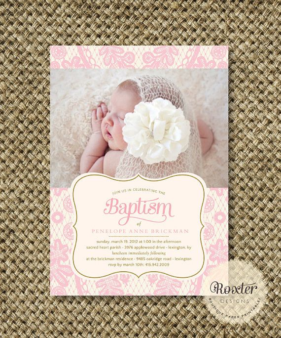 Cute picture.  Girl Baptism or Dedication Invitation. I by RoxterDesigns on Etsy, $18.00