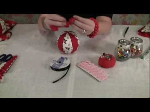 """Learn how to make easy """"no sew"""" fabric Christmas ornaments. No one will be believe that there was absolutely no sewing involved in these ornaments. They look complicated but are so easy and quick to make. Plus you can have fun using non-traditional fabrics for an extra special and funky look. A Craftster Quickies video by Craftster.org."""