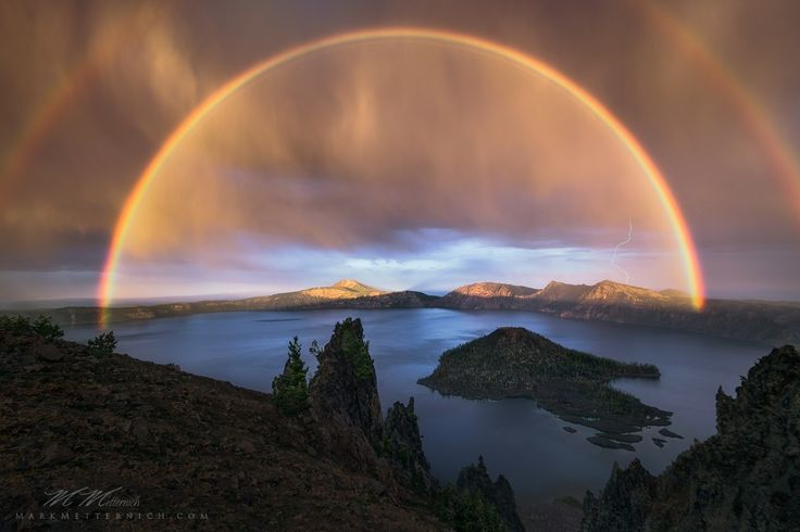 Rainbow over Crater Lake, Crater Lake National Park, Oregon