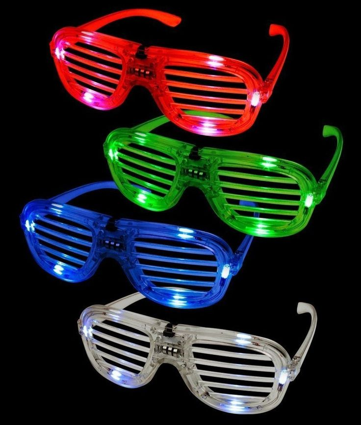 Fun Central T001 LED Light Up Slotted Shades - Assorted Colors 12ct 12 Pieces