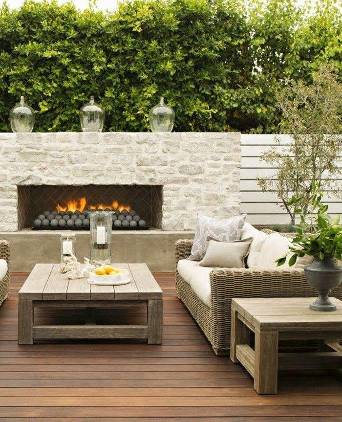 BBQ Cooler Garden Table Wood Sofa Cushion Plants Ideas