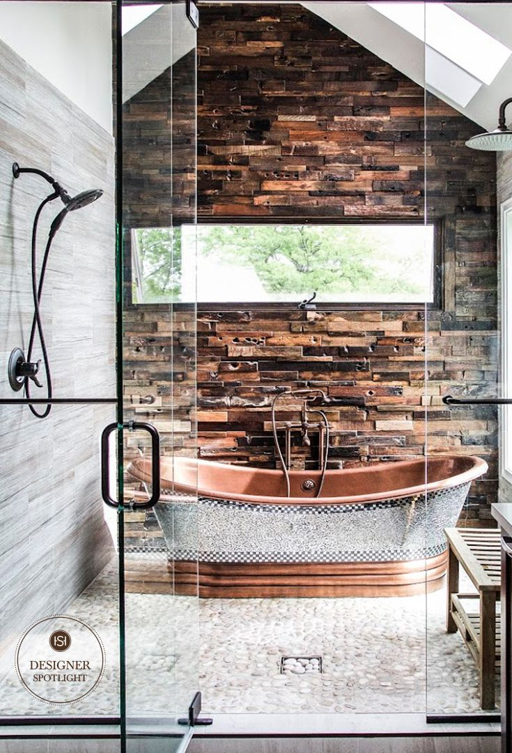 Pairing natural elements with the show-stopping Constantine Mosaic Copper Tub makes for a glamorous, yet rustic bathroom remodel from Magda Interiors.
