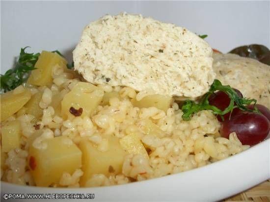 Котлеты паровые с гарниром из картофеля с булгуром (скороварка Brand 6050)