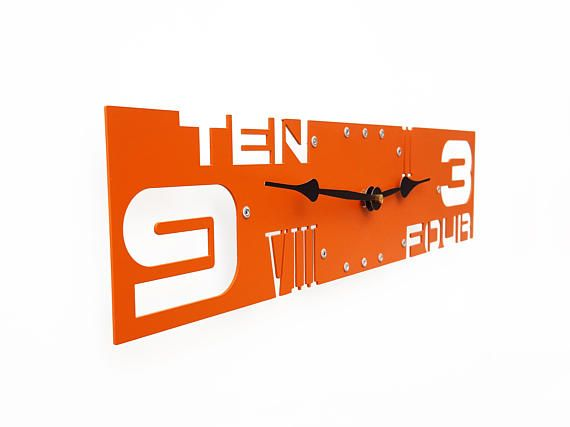 Outnumbered IV, Large Wall Clock, Orange Wall Clock, Unique Wall Clock, Modern Wall Clock, Steampunk Wall Clock, Wall Clock Large