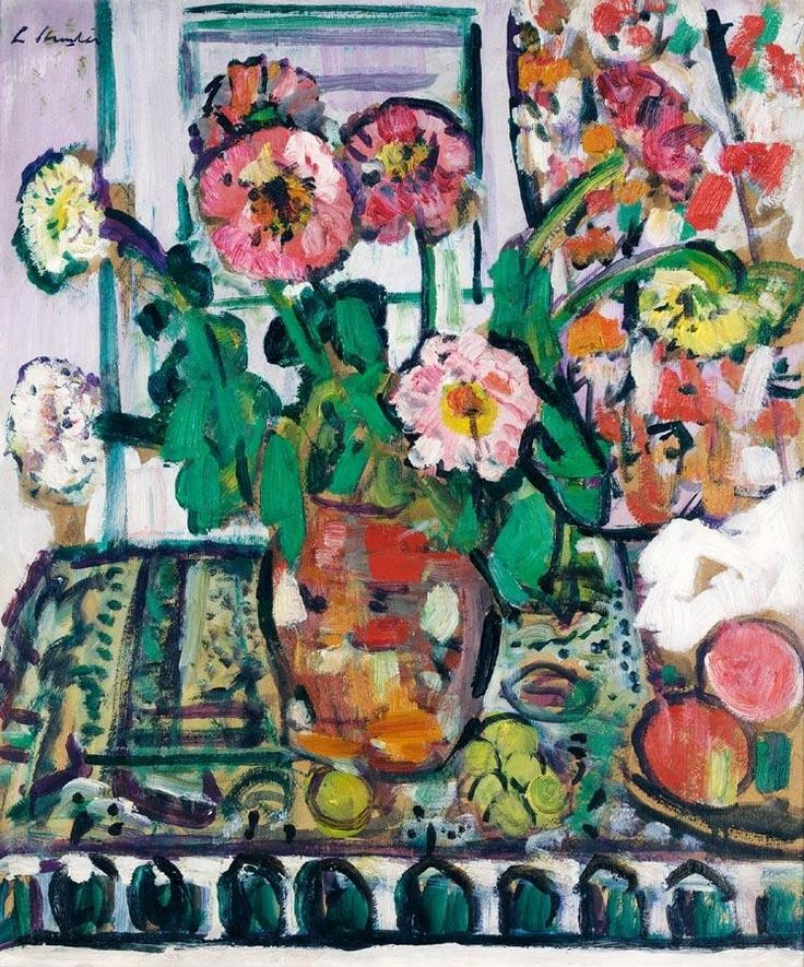 GEORGE LESLIE HUNTER 1877-1931 STILL LIFE WITH DAHLIAS AND FRUIT