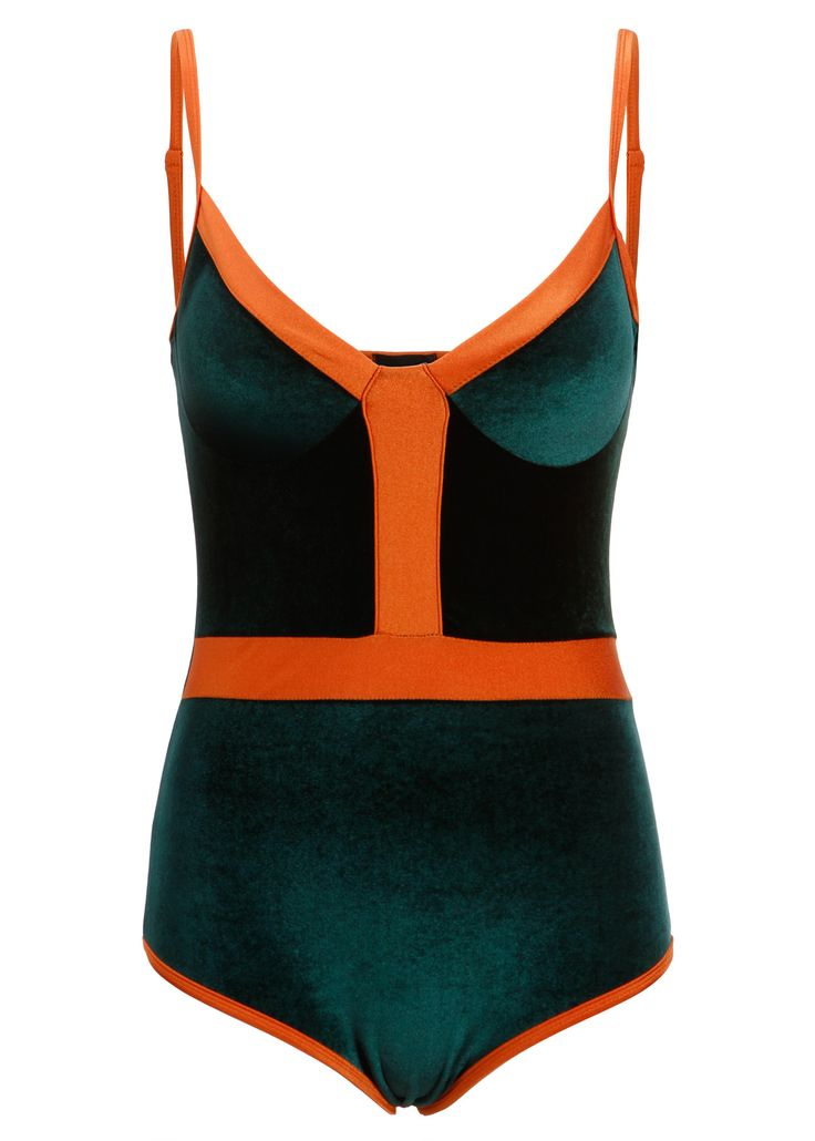 Summer Days! Feel flawless in this sleek and stylish bodysuit! The rad one-piece bodysuit boasts a stunning forest green velvet design for a seventies inspired look. Its has a moderately cut leg and s