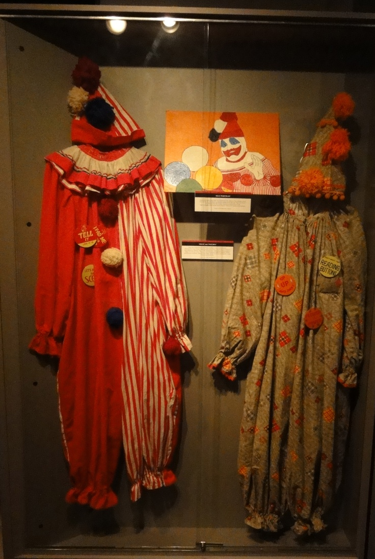 John Wayne Gacy's clown suits at the Crime and Punishment Museum.