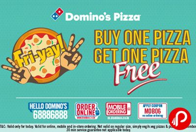 @dominos #offers #Buy1Get1Free offer Valid on Medium & Large Pizzas.Not valid on Regular size Simply Veg/Simply Non-Veg/Pizza Mania Combos. http://www.paisebachaoindia.com/buy-1-get-1-free-offer-15-cashback-on-dominos-pizza/
