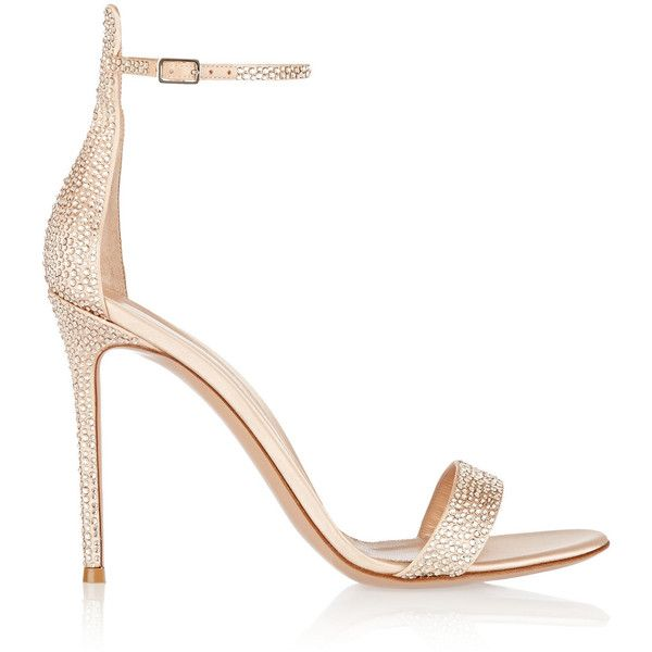 Gianvito Rossi - Embellished Satin Sandals ($747) ❤ liked on Polyvore featuring shoes, sandals, beige, beige sandals, strappy high heel shoes, high heeled footwear, strappy shoes and beige shoes