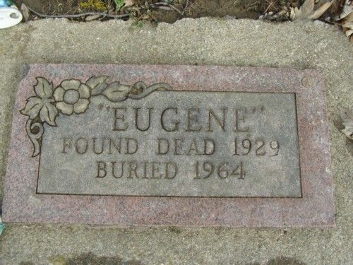 """Eugene"" an unidentified black man, found dead in 1929 with only an address in Cincinnati in his pocket.  The address was a vacant lot, so ""Eugene' was embalmed then left on display for 35 years Sabina Cemetery Sabina, Ohio"