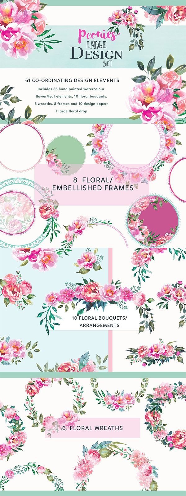 Free Blue Crush Watercolor Floral Elements!