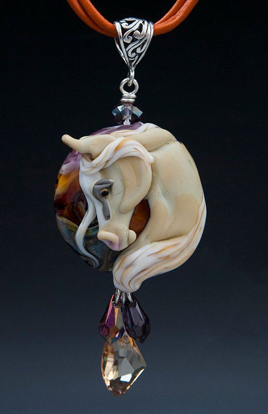 Horse lampwork pendant by Black Cat Gardens