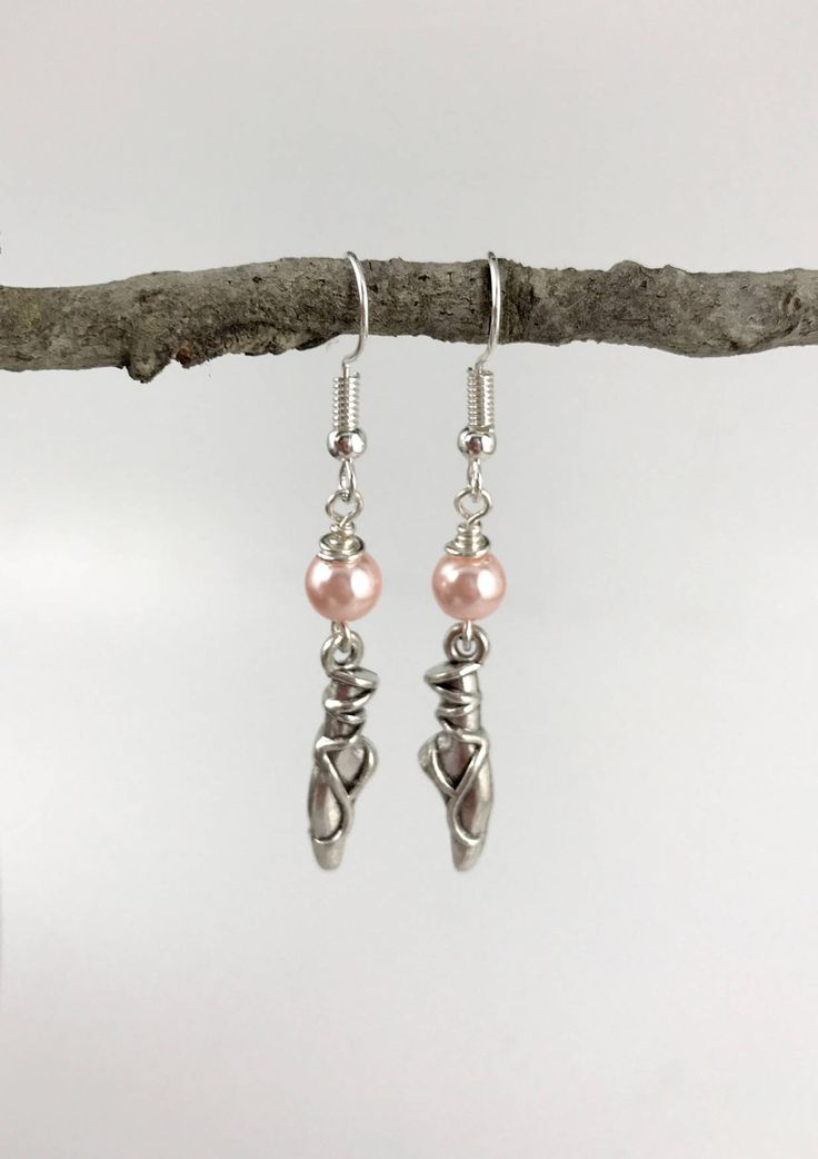 Ballet Shoes Charm Earrings - Pearl Color Options - Antique Silver Ballet Shoes w/glass pearl - Custom Options - Ballet Shoes/Pearl Earrings by ChutneyBlakeDesigns on Etsy