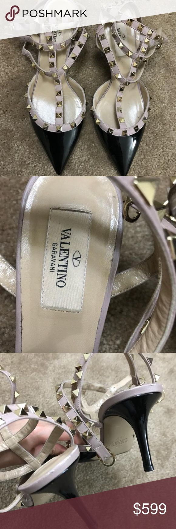 Valentino size 39 rockstud 3 inch heels Valentino rockstud black and nude patent leather. European size 39. Heel height: 2.5-3 inches. --REPAINTED SOLES (were already painted like this when purchased at nord rack.) WILL BE AUTHENTICATED BY POSHMARK CONCIERGE Valentino Shoes Heels