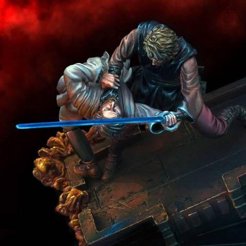 el famoso duelo entre Obi-Wan Kenobi y Anakin, maestro y discípulo, dentro de la gran saga de Star Wars.