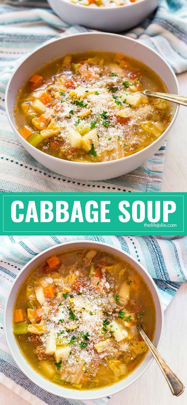 This Cabbage Soup is a healthy and easy recipe to keep you warm and cozy all winter! Made with hamburger meat and tons of simple vegetables, it's the best way to warm up on a cold day!