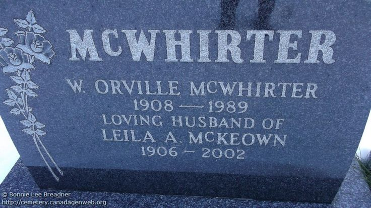 ON: Thornbury & Clarksburg Union Cemetery (Leila A (McKeown) McWHIRTER), CanadaGenWeb's Cemetery Project